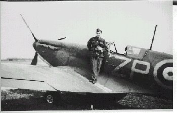 Photo of Sgt. T.B. Kirk with his Spitfire